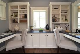 office at home. Exellent Home Home Office Ideas With White Shelves Cabinet And Double Chairs In At