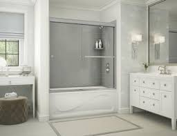 maax 60 x 30 co bathtub with utile metro ash grey wall surround and aura chrome door at menards
