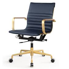 meelano 348 gd nvy office chair in vegan leather gold navy blue