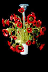 poppies van gogh murano glass chandelier venetian flowers lamp manifactured in venice