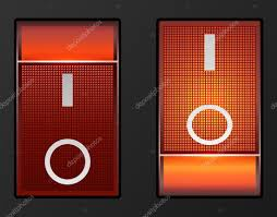 Red Light Switch Red Light Electric Switch Vector Button Stock Vector