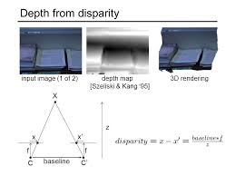 paper presentation topics more on feature detection and 2 depth from disparity f xx x baseline z cc c x f input image 1 of 2 szeliski kang 95 depth map 3d rendering