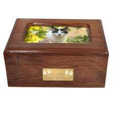 memory chest wooden box cat urn with photo window front shown with engraved plaque wood pet urn memory chest
