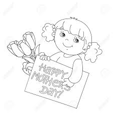 Coloring Page Outline Of Cute Girl With A Card For Mothers Day