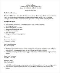 Summary For Resume Retail 10 Sample Retail Sales Resume Templates Pdf Doc Free