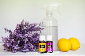 closeup of lavender flowers with a glass spray bottle lemons and essential oils