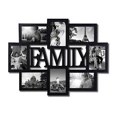 adeco pf0432 black wood family wall hanging collage photo frame 8 openings 4 by 6 inch