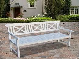 white outdoor bench treenovation