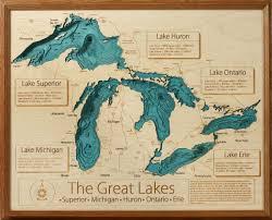 Vineyard Lake Depth Chart Bathymetry Map Of The Great Lakes Region Lake Art Wooden