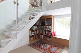 Staircase with Bookshelves modern-staircase