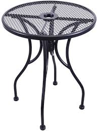h d commercial seating mt24r 24 black wrought iron outdoor mesh top round table