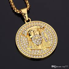 whole 2018 hot hip hop medallion pendant necklace diamond hip hop necklaces for men women 18k gold plated hip hop singer gifts silver necklaces