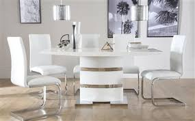 white dining room table. Komoro White High Gloss Dining Table - With 6 Perth Chairs Room Furniture Choice