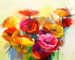 Peinture L Huile Abstraite De Fleur De Printemps Nature Morte