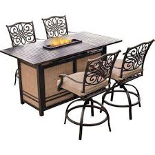 traditions 5 piece aluminum rectangular outdoor high dining set with fire pit with natural oat