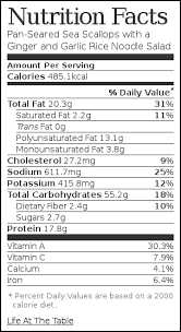 nutrition label for pan seared sea scallops with a ginger and garlic rice noodle salad