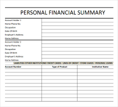 Financial Summary Samples Examples Templates 6