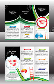 Tri Fold School Brochure Template Vector Illustration Royalty Free