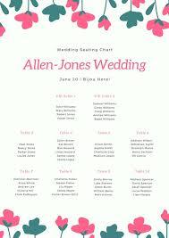 Bijou Seating Chart Pink White Floral Illustration Bordered Seating Chart