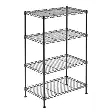 Adjustable Width Shelving Muscle Rack 20w X 12d X 32h Four Level Wire Shelving Black