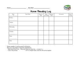 Reading Log Chart Home Reading Log Chart