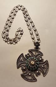 silver jerum maltese filigree cross pendant chain turquoises large vintage 1935446710