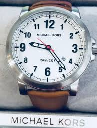 michael kors mk8531 paxton tan leather strap men s watch