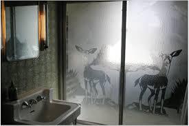 shower door with deer
