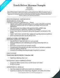 Truck Driver Job Description Resume Wikirian Com