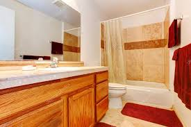 What color towels for beige bathroom Affordableweb Beige Bathroom With Tile Floor Wooden Cabinets Red Towels Red Soft Rug And See Through Curtains Photo By Iriana88w Hackerspotco Warm Colors Bathroom With Red Towels And Rug Stock Photo