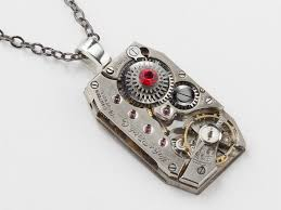 steampunk necklace rare silver watch movement gears ruby red crystal uni pendant industrial men jewelry