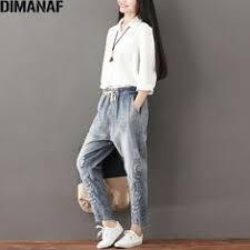 <b>DIMANAF Plus Size Women</b> Jeans Autumn Hole Harem Pants Floral ...