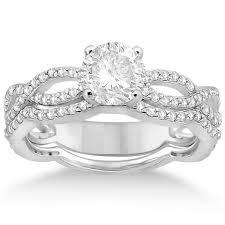 infinity band engagement ring. infinity diamond engagement ring with band 14k white gold (0.65ct) n