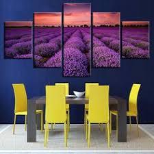 <b>5 Panel Purple</b> Lavender Fields <b>Sunset</b> Landscape Painting Home ...