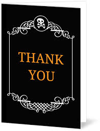 Black And White Filigree Border Halloween Wedding Thank You Card
