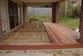a floating deck over concrete slab