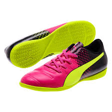 puma indoor soccer shoes for men. puma evopower 4.3 tricks youth it indoor soccer shoes (pink glo/safety yellow/ for men r