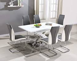 pescara dining table set and 4 6 8 upholstered padded grey and white faux