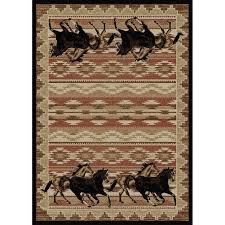 western escape wild horses area rug