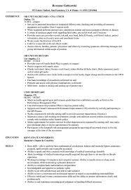 Secretary Job Description Resume Unit Secretary Resume Samples Velvet Jobs 75