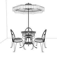 french cafe chairs. Chic French Cafe Table And Chairs 3d Model Obj 3ds Fbx
