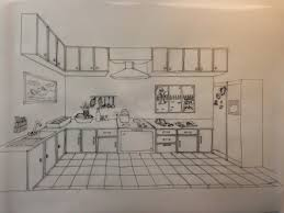 kitchen 1 point perspective. we have to draw a kitchen or living room on tracing paper with artline pen by back the previous assignment one point perspective drawing and i 1