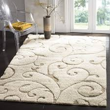 white shag rug living room. Carpet: Safavieh Florida Shag Collection Scrolling Vine Cream And Beige Area Rug From Carpet White Living Room