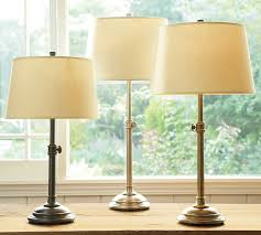 bedside table lamp shades linen tapered drum shade pottery barn 12