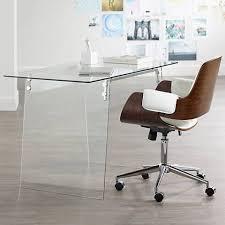 clear office desk. Glacier Glass Clear Tempered Metal Modern Office Desk T