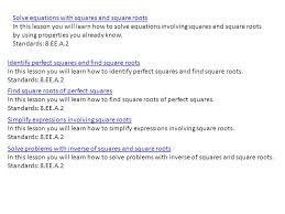 5 solve equations with squares and square roots