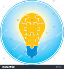 vector square blue icon lighting bulb. jigsaw puzzle light bulb icon vector square blue lighting