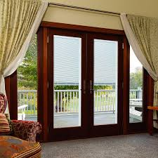 Blocked Blind Design For French Door In Light Red Color  DecofurnishBlinds In Windows Door