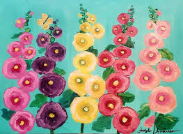 easy hollyhocks fl acrylic cotton swabs painting tutorial for beginners live angela anderson