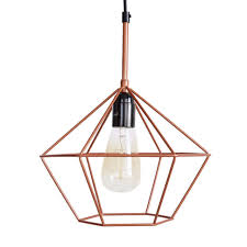 diamond cage pendant light copper tone wire lamp retro chandelier e27 for